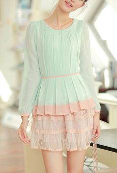 Love Sprung Floral Laser Cut Collar Pleated Blouse in Mint and Pink  $35.99