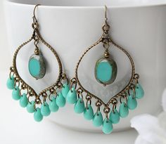 Turquoise Glass Chandelier Earrings, Green Turquoise Bohemian Hoops, Large Boho Czech Dangles, Boho Chic Jewelry, Gypsy Jewelry
