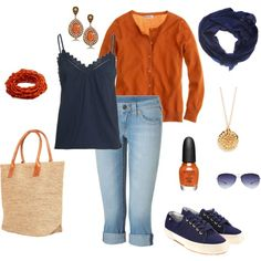 """Such a cute look. I'd have to switch the orange out for green, though.  """"Weekend Getaway"""" by katiejeanne on Polyvore"""