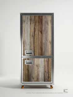 Going on the road with your band? Or just wanna be a roadie in your house? Recycled teak and metal wardrobe.