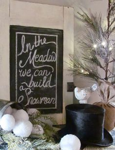 """""""In the Meadow We Can Build a Snowman"""" Chalkboard Vignette with Vintage Top Hat - Hymns & Verses"""