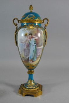 Sevres Hand Painted Urn with Bronze Mounts Signed Daly