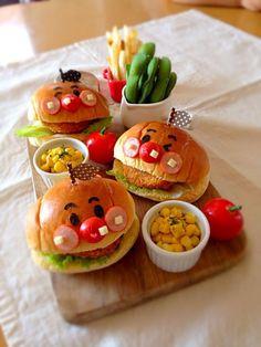 簡単☆アンパンマンハンバーガー☆ by Ayumi Furukawa at Bento Recipes, Baby Food Recipes, Bento Kids, Cute Food Art, Hallowen Food, Plat Simple, Food Garnishes, Food Decoration, Food Drawing
