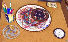 bike parts into spirograph may be the best thing ever or at least the best thing I've seen today