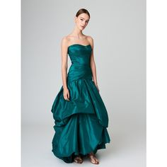 Oscar de la Renta Draped Silk-Taffeta Gown ($5,990) ❤ liked on Polyvore featuring dresses, gowns, evening ball gowns, corset dresses, evening cocktail dresses, cocktail dresses and strapless corset