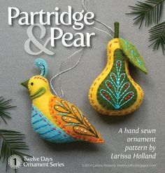 Partridge & Pear PDF pattern a hand sewn wool felt by mmmcrafts, $8.00