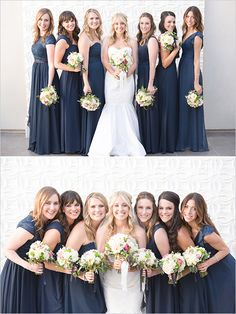 Blue and White Wedding Ideas - navy bridesmaids dresses @weddingchicks