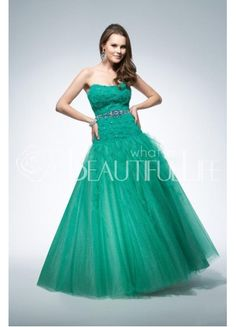 Hunter Green Sweetheart Dropped Floor-length Satin And Organza Prom Dress With Beading