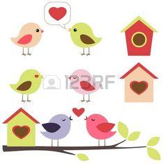 Birds in love vector set photo