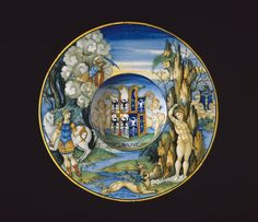 *Plate depicting the story of Perseus and Andromeda from the Isabella d'Este service. Italian (Urbino). Nicola da Urbino, about 1524.