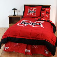 """College Covers, Nebraska Cornhuskers Bed in a Bag. Comforter:  Twin: 86""""x66"""" Full: 90""""x80"""" Queen: 96""""x86"""" King: 100""""x96"""" 2 shams (1 for twin): each 28""""x24"""""""
