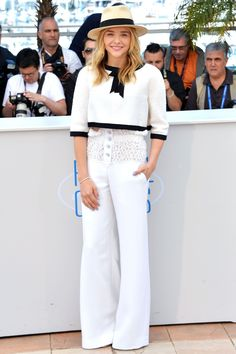 There's hardly a better spot to take the chic sailor look than Cannes—as evidenced by Chloe Grace Moretz.   - HarpersBAZAAR.com