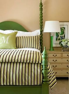 Lakeview Estate - contemporary - bedroom - little rock - Tobi Fairley Interior Design Green Bedding, Bedroom Green, Master Bedroom, Bedroom Decor, Green Headboard, Design Bedroom, Green Bedrooms, Striped Bedding, Bedroom Interiors