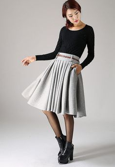 * Detail *  soft light gray wool blend  wide waist band  side zip closure  pleated skirt  hip pocket  Accept size custom, color custom, it need custom