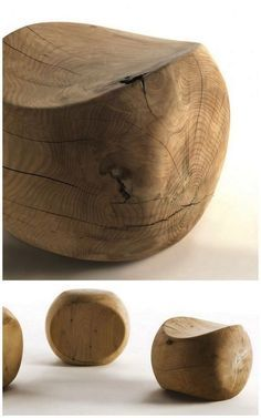 Amedea wood stool. Designed by Benno Vinatzer (Italy) for Riva 1920.