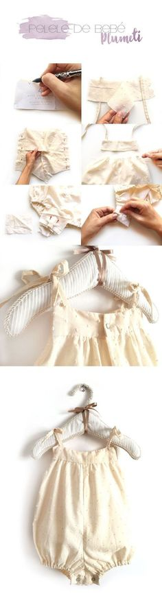 Cómo hacer un pelele de bebé de plumeti -Costura DIY- - Little Girl Skirts, Clothes Crafts, Diy Dress, Summer Baby, Baby Sewing, Clothing Patterns, Kids Outfits, Kids Fashion, Girls Dresses