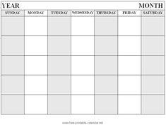 Free Printable Blank Monthly Calendar Templates  Calendar