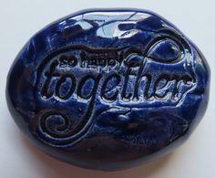 SO HAPPY TOGETHER Pocket Stone  Ceramic  Blue Art by InnerArtPeace, $7.00