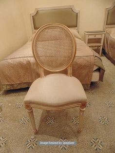 Lot 471 - Louis XV style salon chair dome seat cane back painted and parcel gilt with cushion 430mm x 920mm