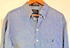 Nautica Vintage Oxford Button Down Dress Shirt Men Blue 100% Cotton Sz 16 34/35 #Nautica