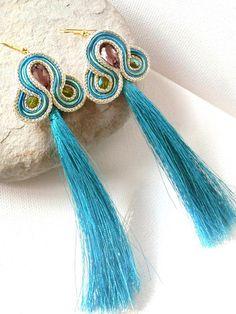 Silk Tassel earrings  turquoise and gold by beadsofaquarius, $45.00