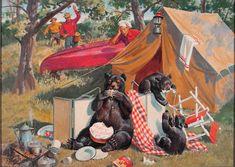 Baumhofer, Walter Martin Bears Invade Camp, I Photography Illustration, Art Photography, Illustration Art, Vintage Photo Booths, Vintage Photos, Walter Martin, Big Bear Camping, Wooden Canoe, Wooden Boats