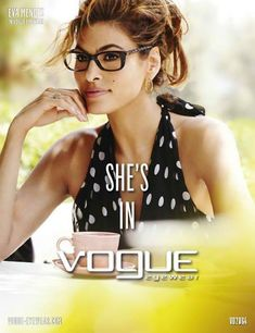 Vogue Eyewear introduced new collection of sunglasses and eyewear frame designs for women. The promotional ad campaign for this Spring Summer Collection 2014 of Vogue Eyewear, photographed by Mario Testino featuring American actress Eva Mendes. Eva Mendes, Vogue, Womens Glasses Frames, Ladies Glasses, New Ray Ban Sunglasses, Eyeglasses For Women, Sunglass Frames, Jennifer Lopez, American Actress