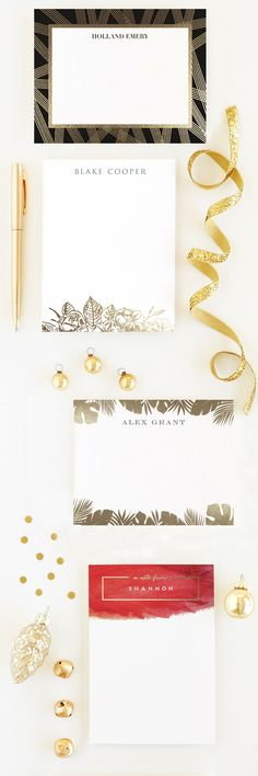 Unique Gifts under $50: Gold Foil Stationery. Personalizable on Minted.