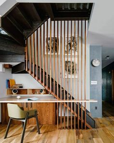 A lovely work space that cleverly uses the space under the stairs.