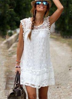 Polyester Vanligt Holkärm Ovanför knät Vintage Klänningar