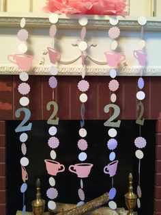 Tea for TWO birthday decorations - Tea Party Birthday garland - Tea for TWO Photo Backdrop - Alice in wonderland decor- your color choice