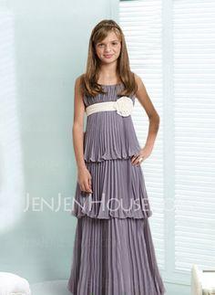 Kleider für junge Brautjungfern - $83.99 - Fabelhaft Empire-Linie U-Ausschnitt Bodenlang Chiffon Kleider für junge Brautjungfern mit Rüschen  Schleifenband/Stoffgürtel (009001769) http://jenjenhouse.com/de/pinterest-g1769