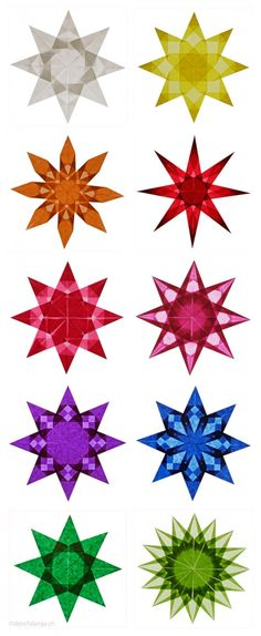 Ten different-Weihnachtssterne_falten-in-colorful - Weihnachten 2019 - Origami Kids Crafts, Crafts To Make, Craft Projects, Christmas Crafts, Christmas Decorations, Xmas, Christmas Stars, Christmas Appetizers, Christmas Movies