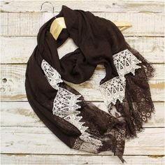 COLETTE  long lace scarf - chocolate