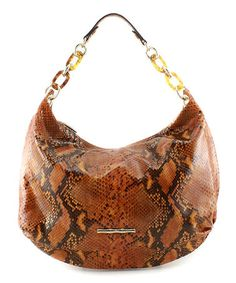 Take a look at this Caramel PythonEmbossed Leather Stella Hobo by Elaine Turner on #zulily today! $225 !!