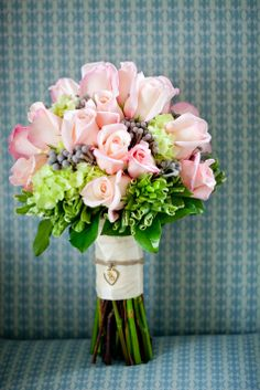 Beautiful light pink rose bouquet with green and purple accents // Maria Glassford Photography
