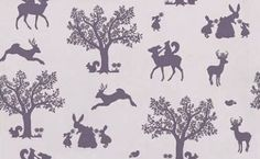 Enchanted Wood - Hibou Home Wallpapers - A pretty fairytale style woodland scene with animals and trees in silhouette against a coloured background. Shown in the aubergine purple on lilac. Please request sample for true colour match. Kids Room Wallpaper, Wood Wallpaper, Enchanted Wood, Girls Bedroom, Bedroom Ideas, Woodland Animals, Nursery Themes, Kid Spaces, Cool Patterns