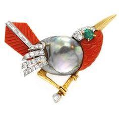 Cartier Multi-Gem Diamond Gold Bird Brooch