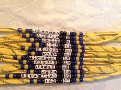 hockey necklace in yellow. Made for my graders hockey team for end of season gifts. Hockey Party, Rink Hockey, Hockey Birthday Parties, Hockey Tournaments, Hockey Room, Field Hockey, Hockey Teams, Hockey Players, Hockey Stuff