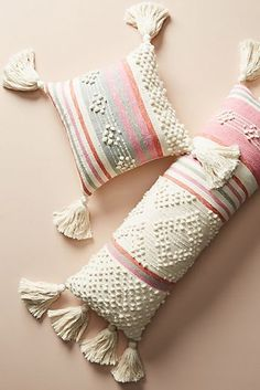 Tasseled Maddie Pillow, presented by Anthropologie. Vibrant stripes and neutral tufting add charm and texture to this tasseled pillow. Rustic Pillows, Boho Pillows, Diy Pillows, Colorful Throw Pillows, Boho Bedding, Pillow Ideas, Throw Cushions, Luxury Bedding, Handmade Home Decor