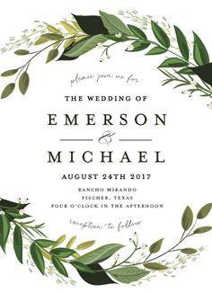 wedding invitations - Vines of Green by Susan Moyal