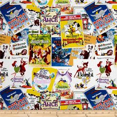 Disney Posters The Greatest Love Story Ever Told Multi from @fabricdotcom  Designed by Disney and licensed to Springs Creative Products, this cotton print fabric is perfect for quilting, apparel and home decor accents. Colors include black, pink, white, blue and green. Due to licensing restrictions, this item can only be shipped to USA, Puerto Rico, and Canada.
