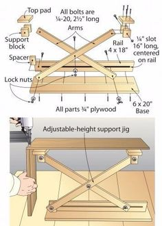 Scissor Lift Support by Charles Mak -- Homemade scissor lift work support constructed from plywood and hardware. http://www.homemadetools.net/homemade-scissor-lift-support #woodworkingbench