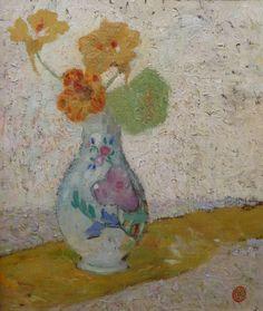 """""""THREE FLOWERS IN A VASE""""DE SMET GustaveGhent 1877 - Deurle 1943Belgian…"""