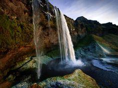 seljalandsfoss waterfall, river seljalandsá, iceland.