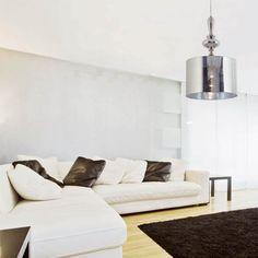 lmpara de techo de diseo moderno con pantalla cromo en pvc y estructura metlica