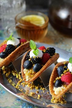 Mini Fruit Tacos with Fresh Berries and Ricotta - serve to your guests for dessert or breakfast!