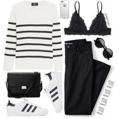Lovin' stripes by deeyanago on Polyvore featuring A.P.C., Monki, adidas Originals, Aspinal of London, Maison Margiela, ZeroUV, LifeProof, Lands' End and stripes