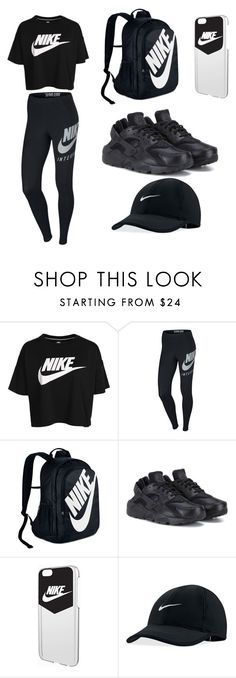 """Nike black"" by lilkaykay2003 ❤ liked on Polyvore featuring NIKE"
