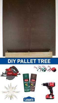 DIY Pallet Tree from Lowe's Create holiday magic with simple craft projects the whole family will enjoy. Wooden Christmas Decorations, Christmas Wood Crafts, Diy Christmas Tree, Christmas Projects, Holiday Crafts, Christmas Tree From Pallets, Wooden Pallet Christmas Tree, Pallet Tree Houses, Cheap Holiday